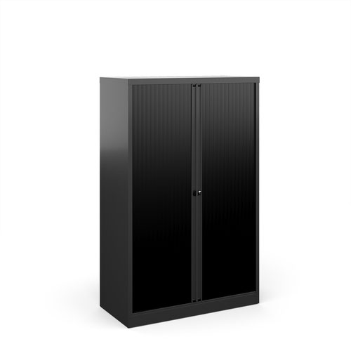 Bisley systems storage medium tambour cupboard 1570mm high - black