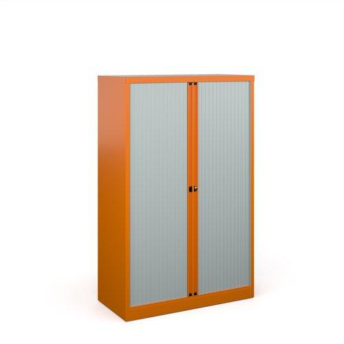 Bisley systems storage medium tambour cupboard 1570mm high - orange