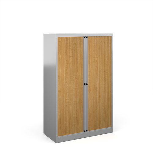 Bisley systems storage medium tambour cupboard 1570mm high - silver with beech doors