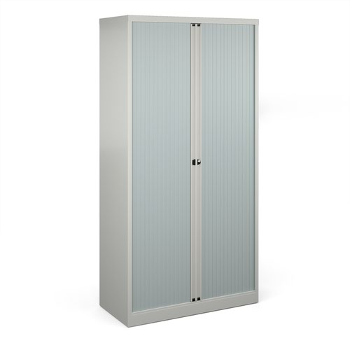 Bisley systems storage high tambour cupboard 1970mm high - goose grey