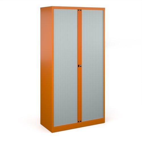 Bisley systems storage high tambour cupboard 1970mm high - orange