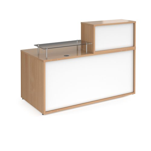 Denver medium straight complete reception unit - beech with white panels Reception Desks DVB01-BWH