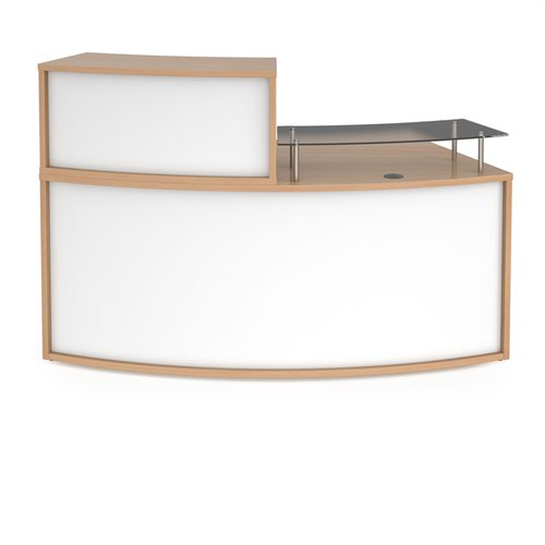 Denver medium curved complete reception unit - beech with white panels Reception Desks DVB02-BWH