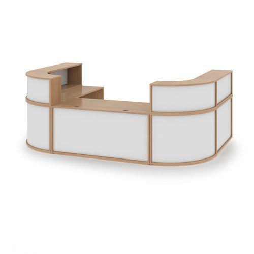 Denver extra large U-shaped complete reception unit - beech with white panels Reception Desks DVB03-BWH