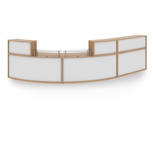 Denver extra large curved complete reception unit - beech with white panels