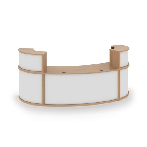 Denver large curved complete reception unit - beech with white panels