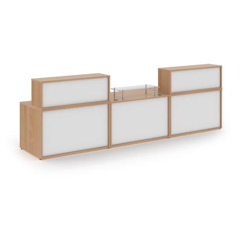 Denver large straight complete reception unit - beech with white panels Reception Desks DVB06-BWH