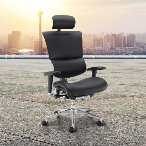 Dynamo Ergo leather posture chair with chrome base and head rest - black Office Chairs DYNX401E1-C