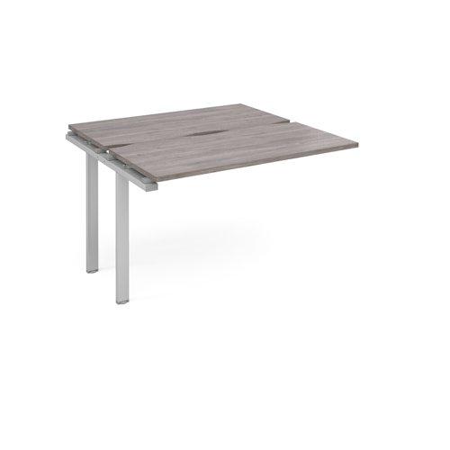 Adapt add on unit single 1200mm x 1200mm - silver frame and grey oak top