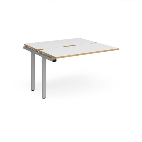 Adapt add on unit single 1200mm x 1200mm - silver frame and white top with oak edging
