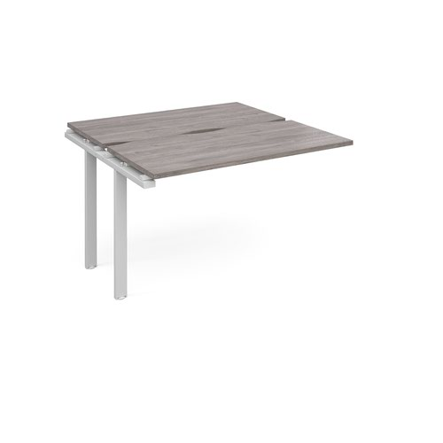 Adapt add on unit single 1200mm x 1200mm - white frame and grey oak top