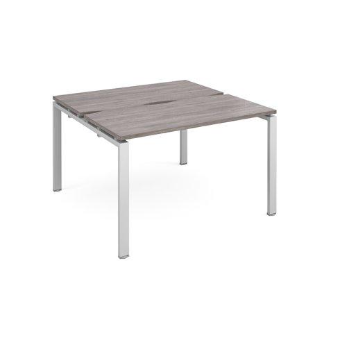 Adapt back to back desks 1200mm x 1200mm - silver frame and grey oak top