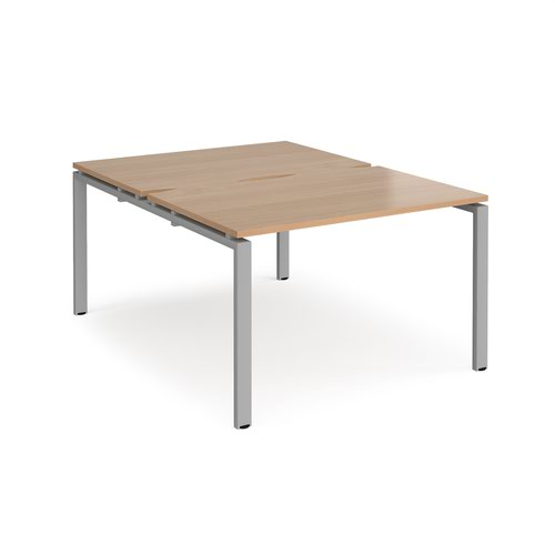 Adapt back to back desks 1200mm x 1600mm - silver frame and beech top