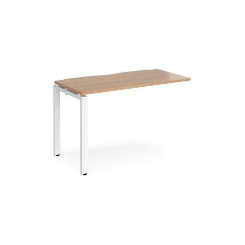 Adapt add on unit single 1200mm x 600mm - white frame and beech top