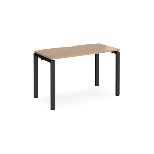 Adapt single desk 1200mm x 600mm - black frame and beech top