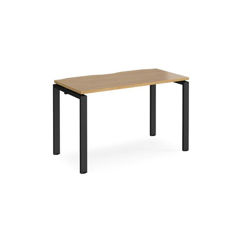 Adapt single desk 1200mm x 600mm - black frame and oak top