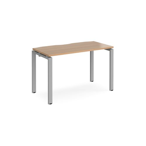 Adapt single desk 1200mm x 600mm - silver frame and beech top
