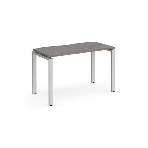 Adapt single desk 1200mm x 600mm - silver frame and grey oak top
