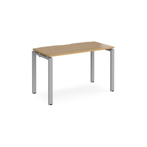 Adapt single desk 1200mm x 600mm - silver frame and oak top