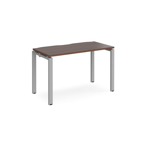 Adapt single desk 1200mm x 600mm - silver frame and walnut top
