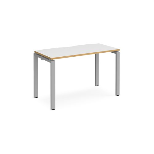 Adapt single desk 1200mm x 600mm - silver frame and white top with oak edging