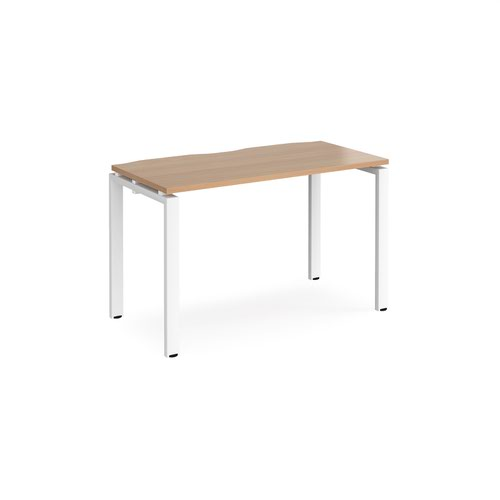 Adapt single desk 1200mm x 600mm - white frame and beech top