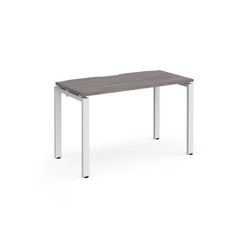 Adapt single desk 1200mm x 600mm - white frame and grey oak top