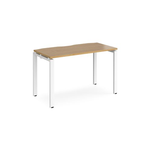 Adapt single desk 1200mm x 600mm - white frame and oak top