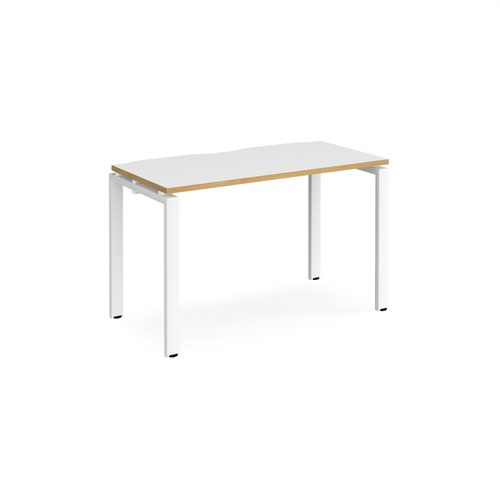 Adapt single desk 1200mm x 600mm - white frame and white top with oak edging