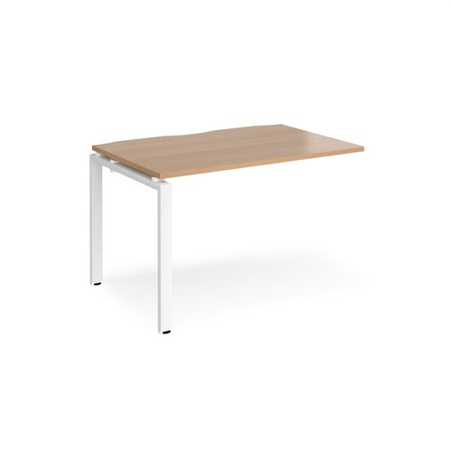 Adapt add on unit single 1200mm x 800mm - white frame and beech top