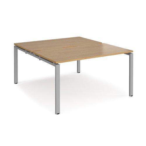 Adapt back to back desks 1400mm x 1600mm - silver frame and oak top