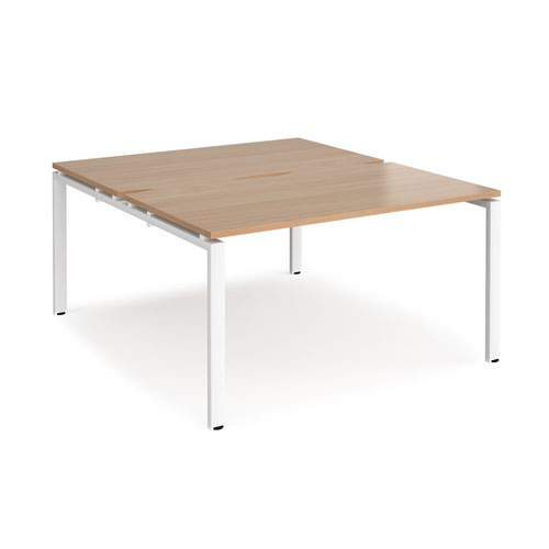 Adapt back to back desks 1400mm x 1600mm - white frame and beech top