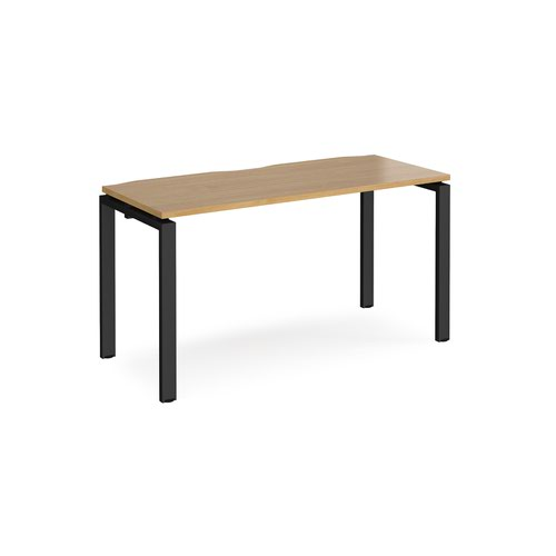 Adapt single desk 1400mm x 600mm - black frame and oak top