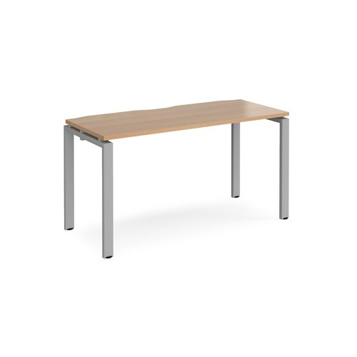 Adapt single desk 1400mm x 600mm - silver frame and beech top