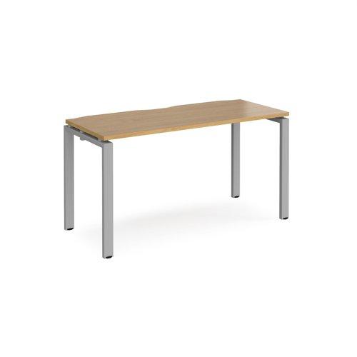 Adapt single desk 1400mm x 600mm - silver frame and oak top