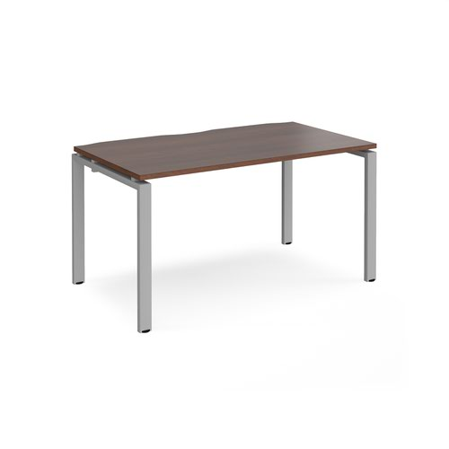 Adapt single desk 1400mm x 800mm - silver frame and walnut top