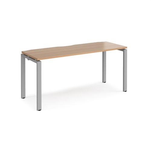 Adapt starter unit single 1600mm x 600mm - silver frame and beech top
