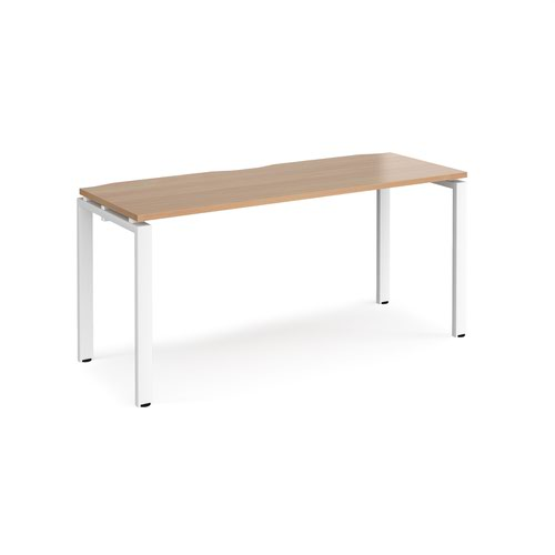 Adapt starter unit single 1600mm x 600mm - white frame and beech top