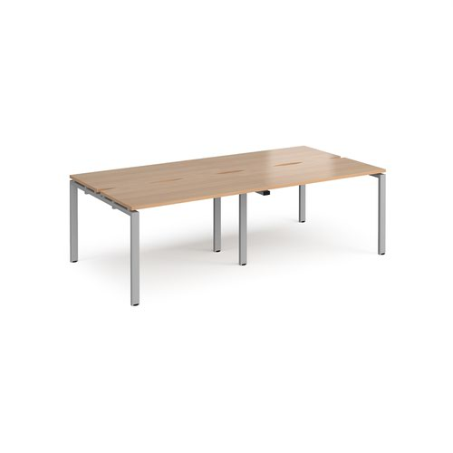 Adapt double back to back desks 2400mm x 1200mm - silver frame and beech top