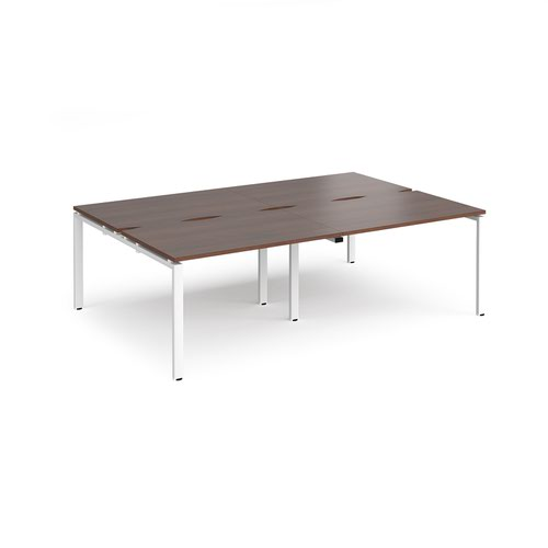 Adapt double back to back desks 2400mm x 1600mm - white frame and walnut top