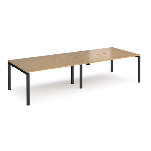 Adapt double back to back desks 3200mm x 1200mm - black frame and oak top