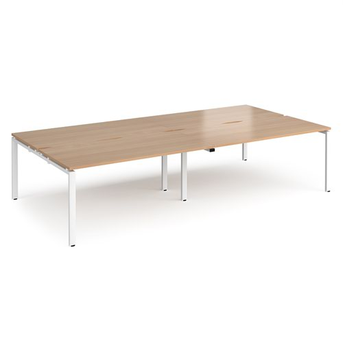 Adapt double back to back desks 3200mm x 1600mm - white frame and beech top