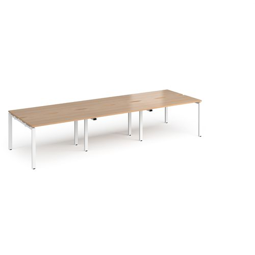 Adapt triple back to back desks 3600mm x 1200mm - white frame and beech top