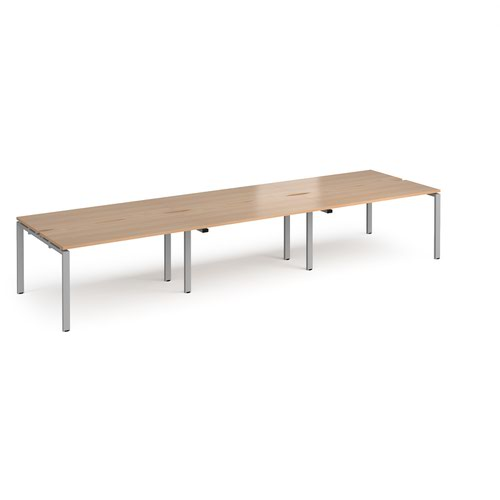 Adapt triple back to back desks 4200mm x 1200mm - silver frame and beech top