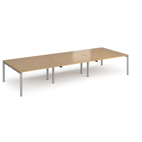 Adapt triple back to back desks 4200mm x 1600mm - silver frame and oak top
