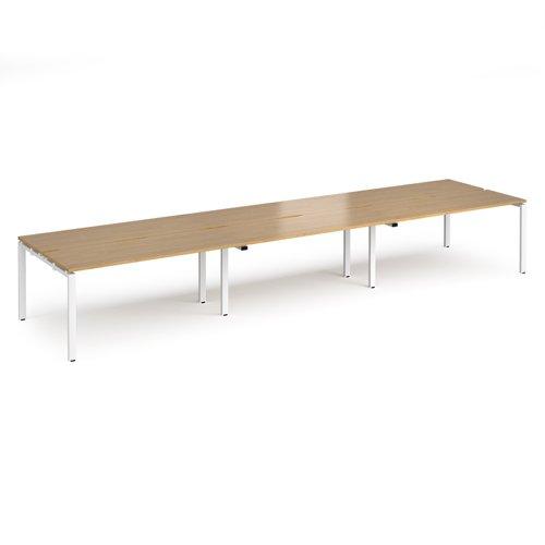 Adapt triple back to back desks 4800mm x 1200mm - white frame and oak top