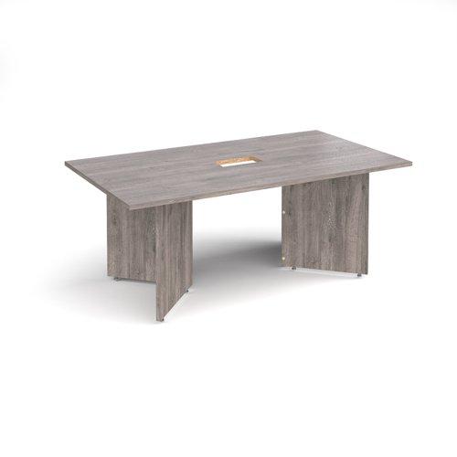 Arrow head leg rectangular boardroom table 1800mm x 1000mm with central cutout 272mm x 132mm - grey oak
