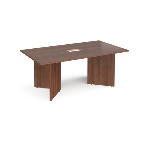Arrow head leg rectangular boardroom table 1800mm x 1000mm with central cutout 272mm x 132mm - walnut