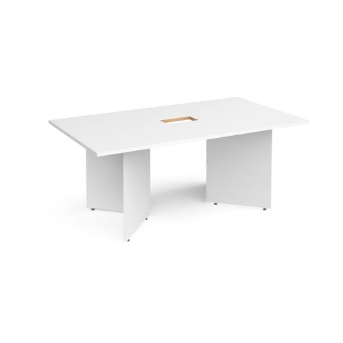 Arrow head leg rectangular boardroom table 1800mm x 1000mm with central cutout 272mm x 132mm - white