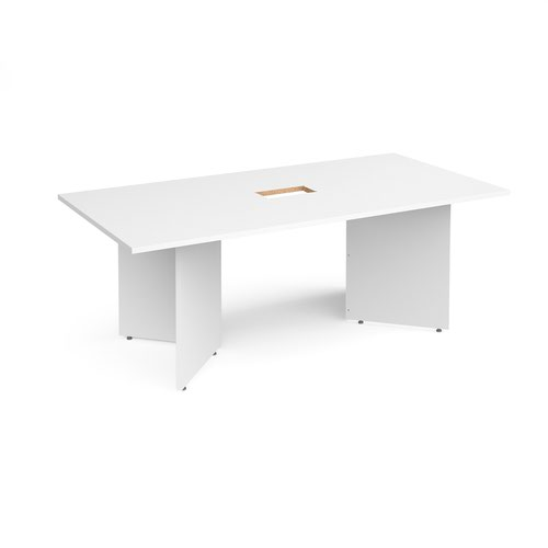 Arrow head leg rectangular boardroom table 2000mm x 1000mm with central cutout 272mm x 132mm - white